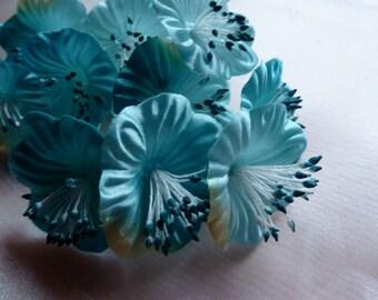 Aqua Ombre Satin Millinery Flower YoYos in for Bridal, Headbands, Fascinators, Floral Supply MF 80