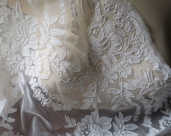 SALE Ivory Alencon Lace for Bridal Gowns, Headpieces, Clutches