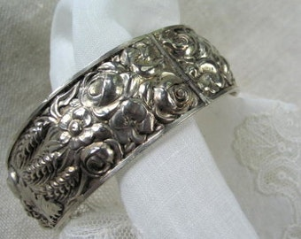 Sterling Silver Bracelet/Cuff in  Repousse from France Circa Early 1900's