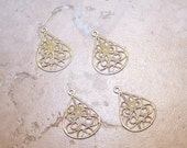 Raw brass teardrop filigree earring drop (4) ED009