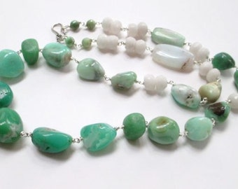 Chrysoprase and Jade Necklace