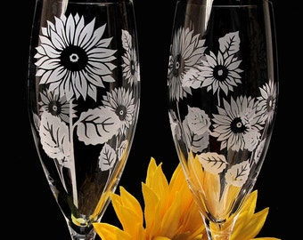 2 Sunflower Wedding Champagne Flutes, Personalized Champagne Glasses, Fine Crystal