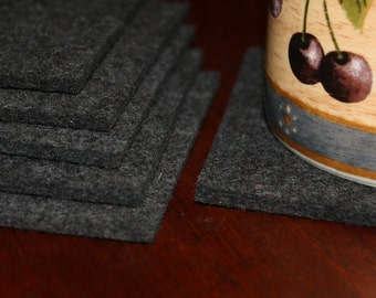 Square Drink Coasters in 3MM Thick Virgin Merino Wool Felt Fabric Eco Friendly Felted Barware
