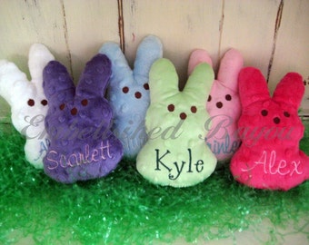 SET of SIX Personalized Stuffed Bunny Toys Soft and Plush for Baby or Easter Basket