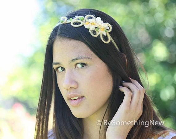 One of a kind yellow and green flower headband, adult headbands
