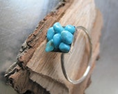 20 Percent off SALE  Turquoise Pebble and Sterling Silver Ring