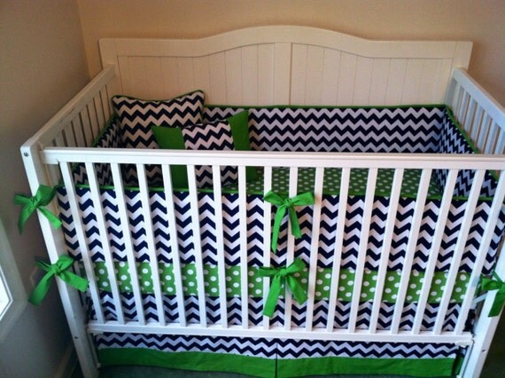 Crib bedding modern green and navy blue by butterbeansboutique - Navy blue and green bedding ...