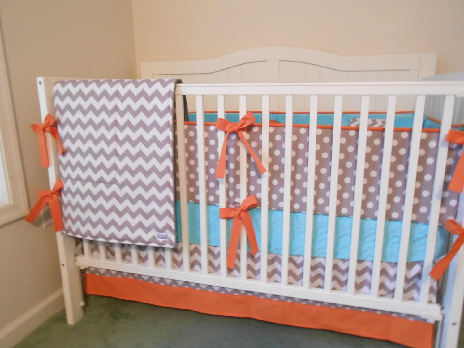 Crib bedding set gray white navy blue with by butterbeansboutique - Crib Bedding Set Gray White Medium Blue