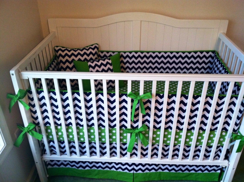Items similar to Modern Green and Navy Blue Chevron Crib ...  Items similar t...