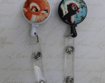 ID badge holder reel - Bambi's characters - choose your button