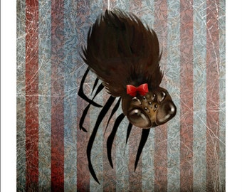 5x7 Fine Art Print - 'Ms. Spider on her Own' - Small Sized Giclee Print by Artist Jessica Grundy
