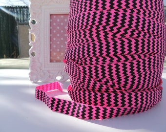 "5 Yards of 5/8"" Chevron Printed Fold Over Elastics FOE - Neon Pink and Black"
