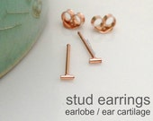 Laconic bar stud earrings for men, men's stud earrings, small stud earrings, cartilage earring, rose gold earring, tragus stud earring, 464R