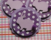 Purple Bunny Rabbit Embellishment Cupcake Toppers -- Set of 3 -- Ready to Ship