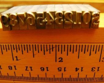 vintage letterpress ... PRINTERS TYPEFACE NUMERIC 0 to 9 plus 1 Grp B 3 is 11 pce