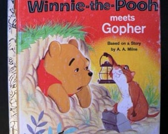 vintage childrens book... WINNIE the POOH Meets Gopher 1965 GOLDEN Book hardcover Book ...
