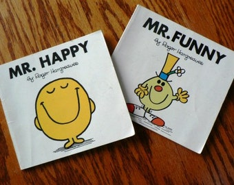 vintage childrens book...  LITTLE Mr HAPPY and also Mr FUNNY by Roger Hargreaves ...