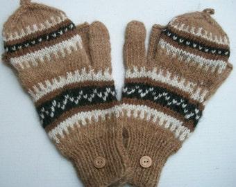 Alpaca glittens. Convertible mittens with a button.  Tan,brown.