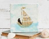 Sailing on a SONG Original Encaustic Mixed Media Painting Vintage Paper Art
