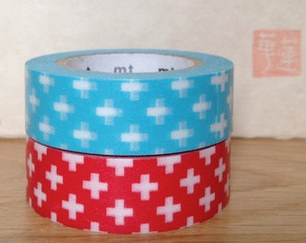 SALE mt washi masking tape - cross- red and blue