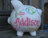 Large-Custom Personalized Piggy Bank-Girlie Fish