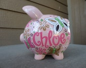 Pink Butterflies-Personalized Piggy Bank-Large
