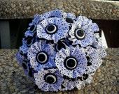 Black and White Polka Dot Wedding Button Bouquet