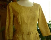 50s 60s Gold Lame Brocade Wiggle Dress SZ M Mad Men Cocktail Party