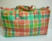 "1950s Plaid Insulated Picnic Tote Bag ""Thermo-Keep"" - decotodiscovintage"