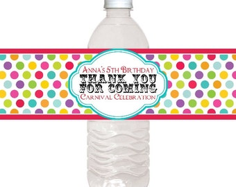 Carnival Water Bottle Labels, Custom Water Bottle Labels, Circus Water Bottle Labels, Fit on 16.9 oz water bottles