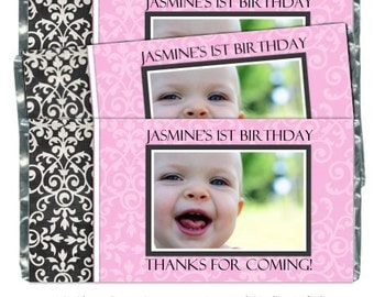 First Birthday Candy Wrappers - fit over 1.55 oz chocolate bars, Damask Birthday, 1st Birthday Party Favor, Chocolate Bar Wrappers