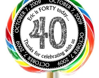 40th Birthday Stickers, Lollipop Stickers, Fortieth Birthday Party, Extra Large Personalized Stickers, Fit on WHIRLY LOLLIPOPS