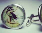 Hawaiian Woman Pewter Cufflinks