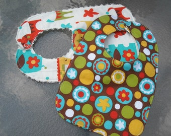 Set of 2 Bibs One with Wavy Chenille Back and One Triple Layer