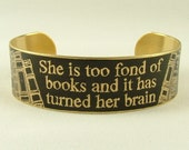She Is Too Fond Of Books - Louisa May Alcott Literature Quote Slim Brass Cuff in Black - Book Jewelry - Original Gift Ideas Under 35