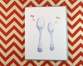 Let's Spoon Greeting Card - TWO VERSIONS AVAILABLE - perfect for celebrating an anniversary, Valentine's Day, Love