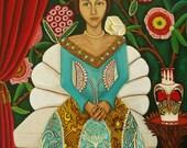 Portrait Art Print of original painting Donatella's Arrival  Open Edition Catherine Nolin 8x10