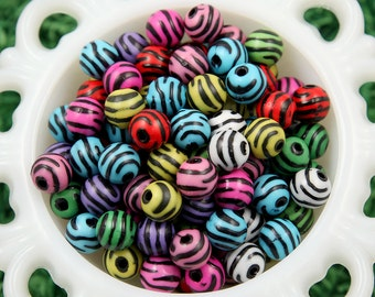 12mm Zebra Stripe Animal Print Resin or Acrylic Beads - 50 pcs set