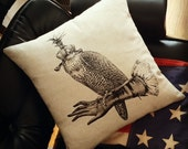 Hooded Falcon on Glove cotton pillow black on natural sandstone canvas