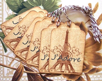 Eiffel Tower Tags J'Adore Vintage Style Paris Gift Tag Price Tags Party Favor Treat Bag Tag T009