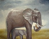 Illustration Print,Isabella and The Elephants ,Giclee Print Illustration Digital print
