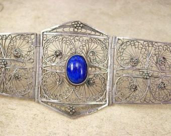 Vintage sterling filigree  Egyptian revival bracelet EXOTIC WIDE Blue lapis
