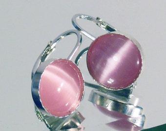 Pink glass bindu earrings