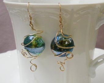 Blue and Green Wire Wrapped Earrings