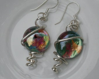 Pink, Green & Gold Wire Wrapped Earrings