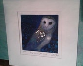 Keep me in your heart.  Giclee print of little owl, hand-finished in gold leaf.