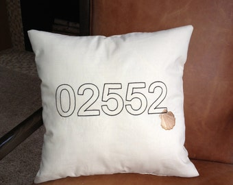 CUSTOMIZABLE Embroidered Zip Code / Coordinate Pillow