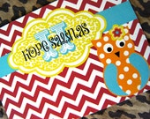 DIY Red Chevron with a Pop of Orange Leopard and Cute Owl Birthday Invitation