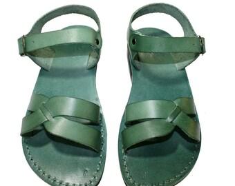 Green Circle Leather Sandals for Men & Women - Handmade Unisex Sandals, Flip Flop Sandals, Jesus Sandals, Genuine Leather Sandals