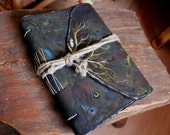 Rustic painted leather journal with bookmark